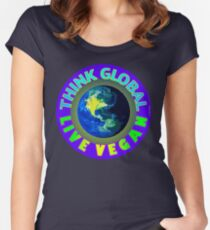 THINK GLOBAL — LIVE VEGAN. Women's Fitted Scoop T-Shirt