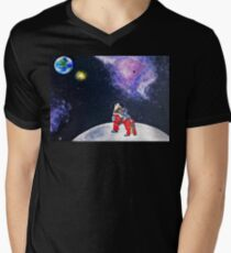 Wolf on Moon Howling to Earth  T-Shirt