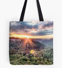 Chimney Top Rock: Sunset Tote Bag