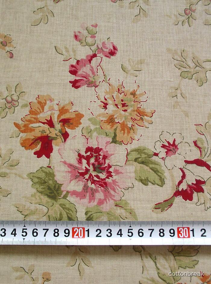 Fat Quarter - Japanese Linen Cotton Blended Fabric - Beautiful Roses by cottonbreak