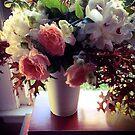 Fall Arrangement With Peonies by Barbara Wyeth