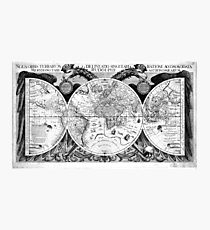 Black and White World Map (1630) Photographic Print