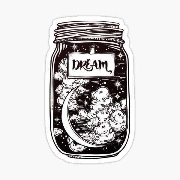 """Dream in a Jar"" Clouds, Moon and Stars Sticker"