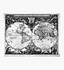 Black and White World Map (1664) Photographic Print