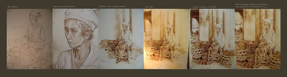 step by step watercolour by Suryani Shinta