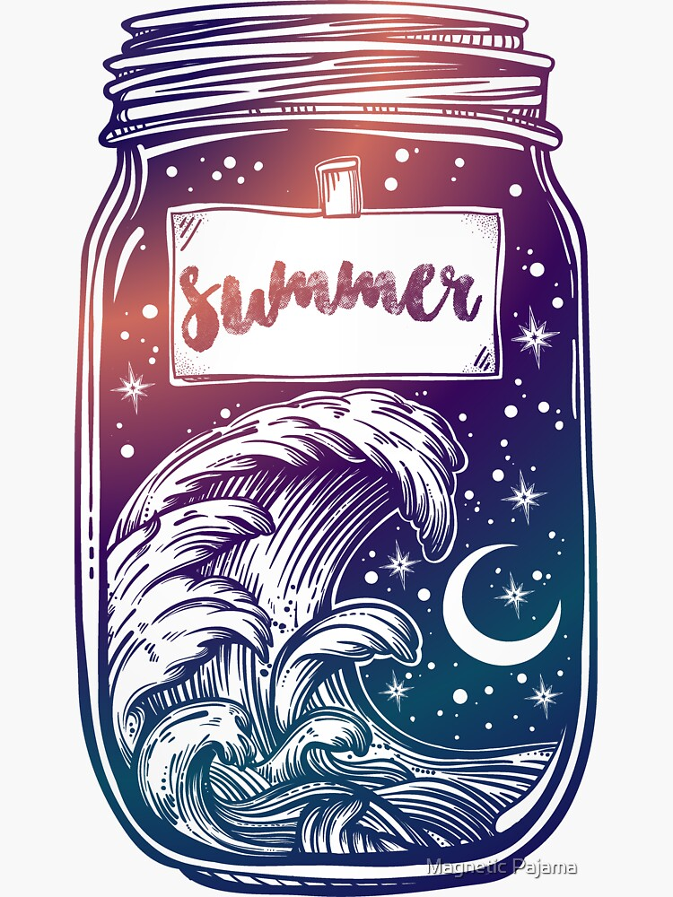 """""""Summer in a Jar"""" with Moon, Stars and Waves // Hand Drawn Art by MagneticMama"""