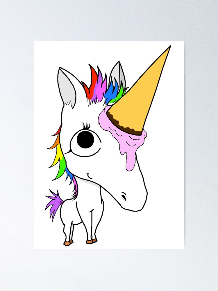 Baby Arnold The Ice Cream Cone Unicorn Poster By Littleredchucks Redbubble