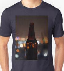 Beer bottle & city lights Unisex T-Shirt