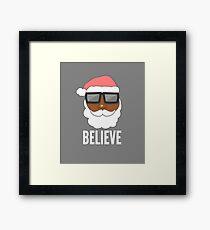 Funny Black Santa Claus Sunglasses Apparel Christmas T Shirt Framed Print