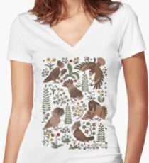 Harpies and flowers Women's Fitted V-Neck T-Shirt