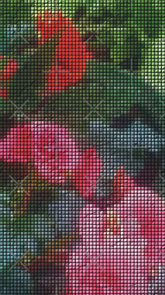 Mosaic Style Pink Flower Tiles by gkillerb