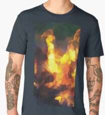 Oil Paint Burning Yellow Camp Fire Men's Premium T-Shirt