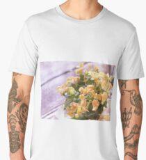 Oil Painting; Close Up of Orange Begonia Under Soft Sunlight Men's Premium T-Shirt
