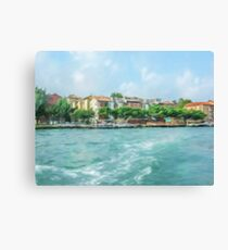 Oil Painting; The Landscape View of Canal and City in Venice, Italy Canvas Print