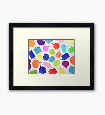 Oil Painting; Colorful Balloons (White Background) Framed Print