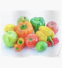 Oil Painting; Colorful vegetables and fruits look fresh and delicious. Poster