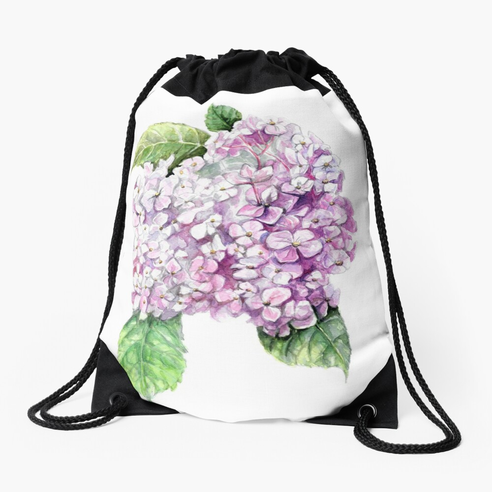 Hydrangea  Drawstring Bag Front