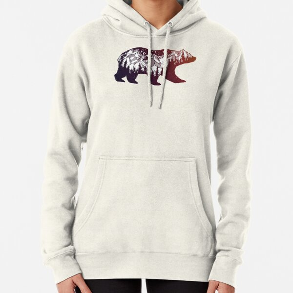 California Bear with Mountains Landscape Pullover Hoodie