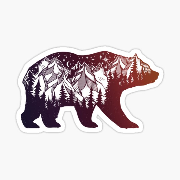 California Bear with Mountains Landscape Sticker