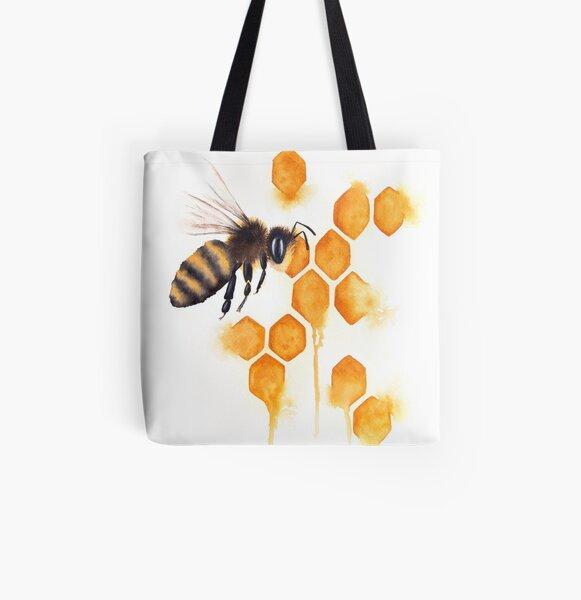 Honey Bee Watercolor All Over Print Tote Bag
