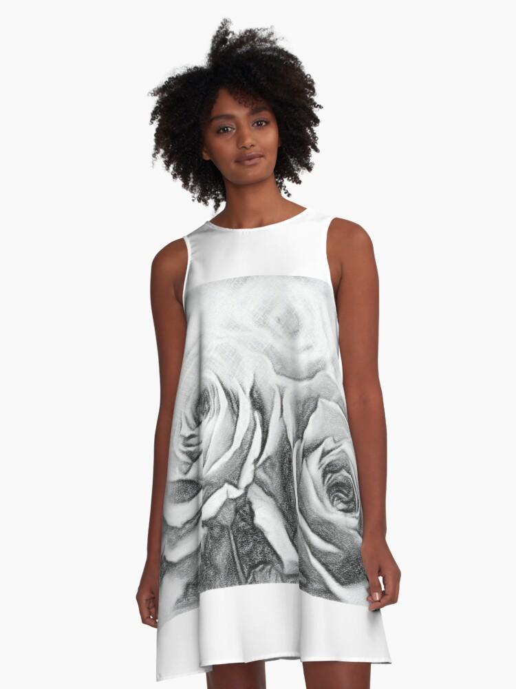Vestido Acampanado Dibujo Al Carbón Un Regalo De Preservrd Arreglo Floral De Flores Y Arcilla Rosas Azules Y Rosas De Eikotsuttiy