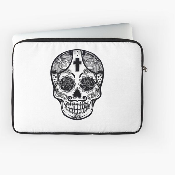 Mexican Candy Skull with Cross and Roses // Day of the Dead Laptop Sleeve