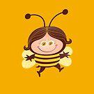 Cute girl wearing a Halloween bee costume by Zoo-co