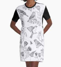 Sparrows and thistles Graphic T-Shirt Dress