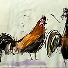 feral rooster at the beach following a bush turkey by donna malone