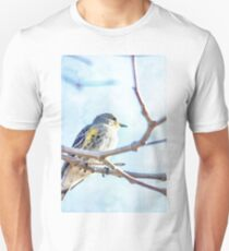 Watercolor Painting; The Female Yellow-rumped Warbler Perching on the Tree T-Shirt