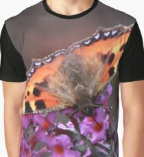Small Tortoiseshell Butterfly on Budlea Flower Graphic T-Shirt