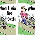 Lottery Winning Design Man with Barrow of Cash by Nigel Sutherland