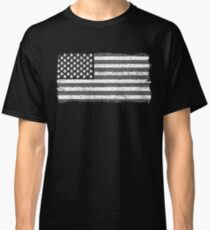 American Flag - Black And White USA Vintage Retro Style Classic T-Shirt