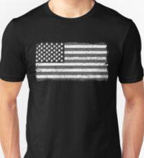 American Flag - Black And White USA Vintage Retro Style T-Shirt