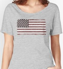 American Flag Faded - USA Retro Vintage Design Women's Relaxed Fit T-Shirt
