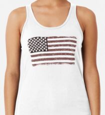 Amerikanische Flagge verblaßte - USA Retro Weinlese-Design Racerback Tank Top