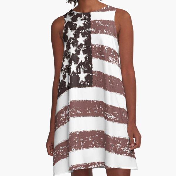 American Flag Faded - USA Retro Vintage Design A-Line Dress