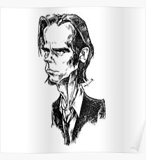 Nick Cave caricature Poster