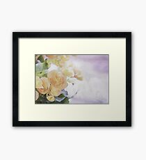 Watercolor Painting; Close Up of Orange Begonia Under Soft Sunlight Framed Print