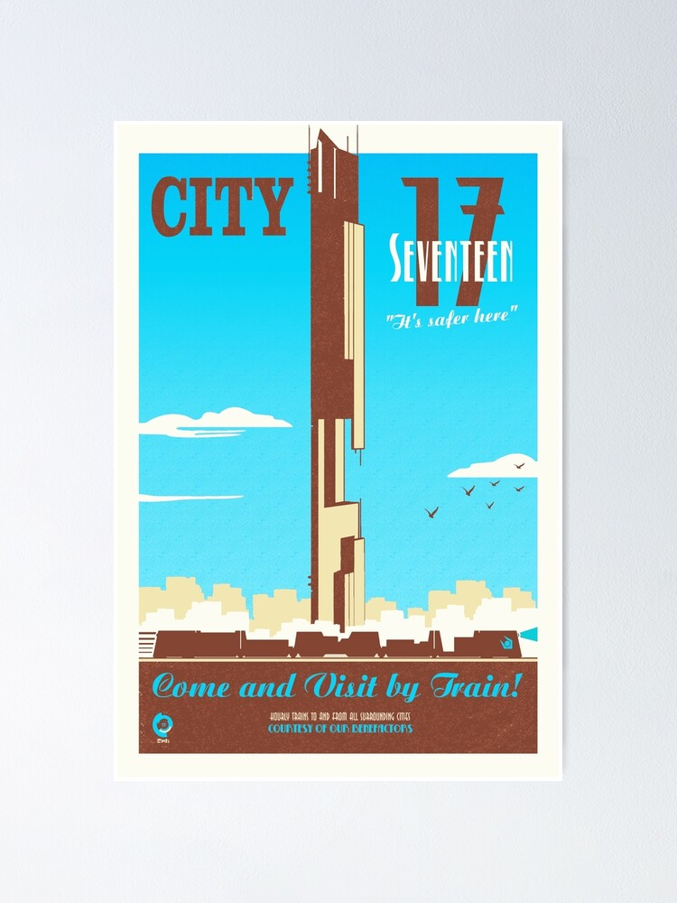 Alternate view of City 17 Travel Poster (blue) Poster