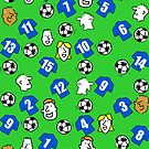 Cartoon Footballs, Blue Shirts, & Fans by Nigel Sutherland