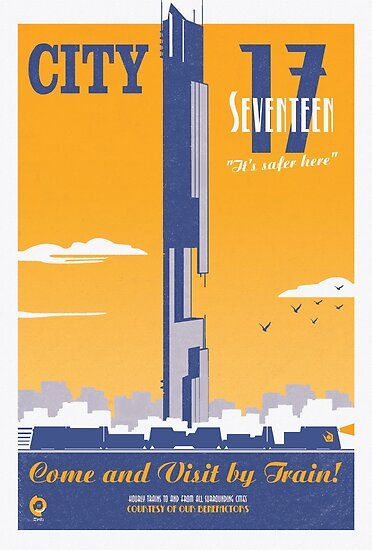City 17 Travel Poster (orange) by bubblemunki