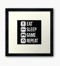 Eat Sleep Game Repeat Framed Print