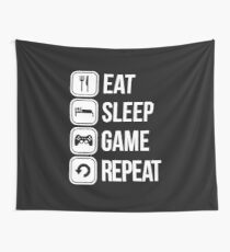 Eat Sleep Game Repeat Wall Tapestry