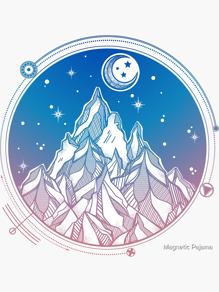Mountain Range Under the Stars and Moon with Sacred Geometry by MagneticMama