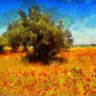 Olive Tree in a Poppy Field by jean-louis bouzou