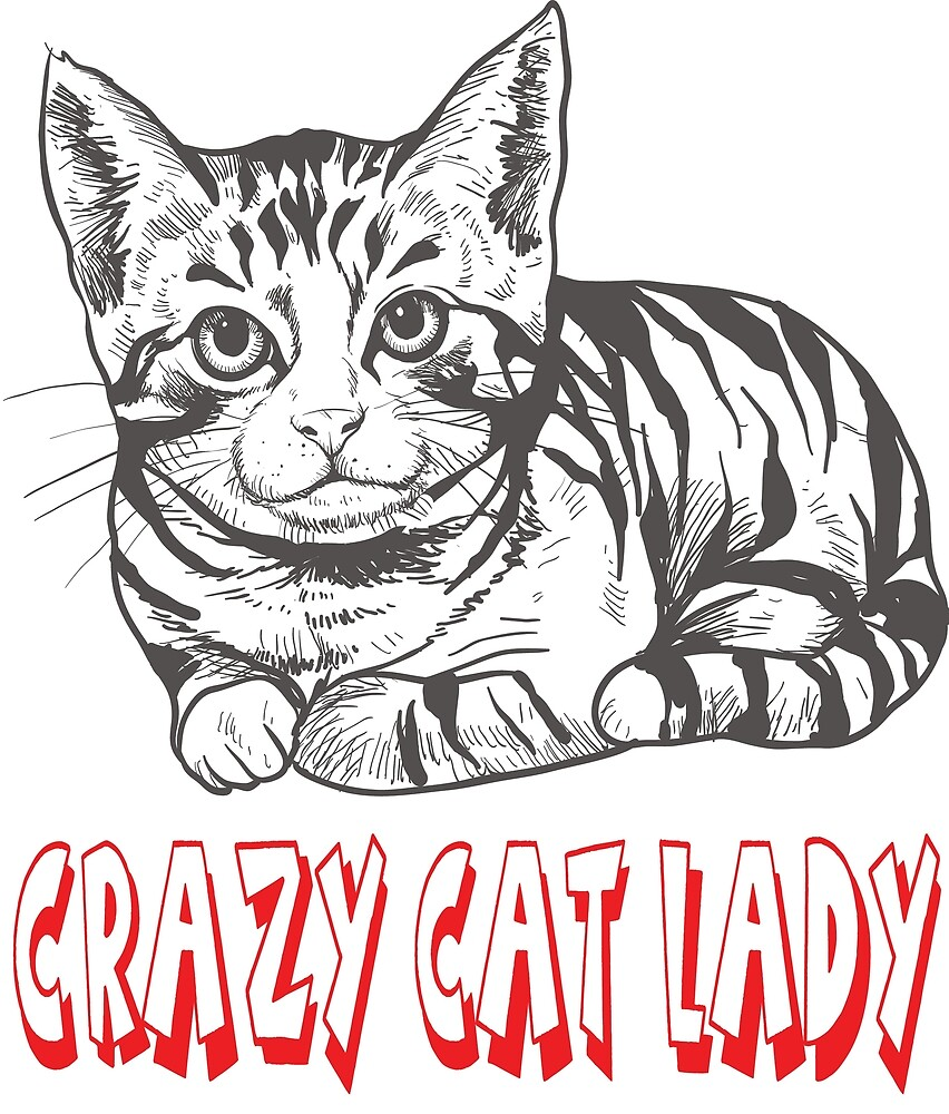 Crazy Cat Lady Cartoon Illustration Cat Quote Kitten Love By