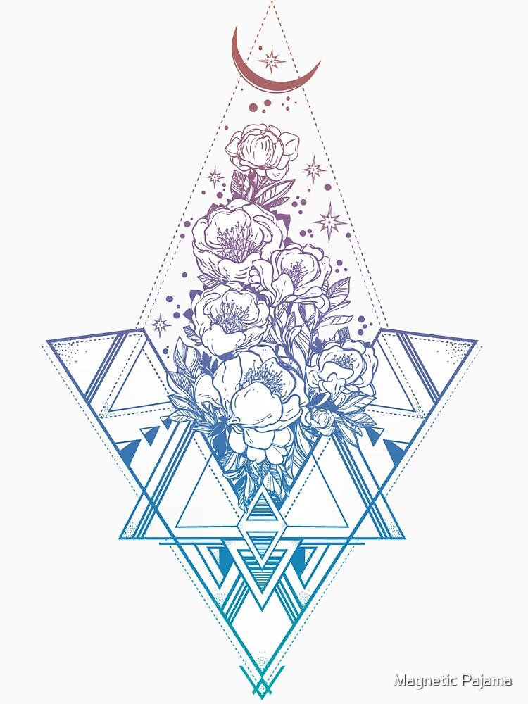 Floral Sacred Geometry // Rainbow Peonies by MagneticMama
