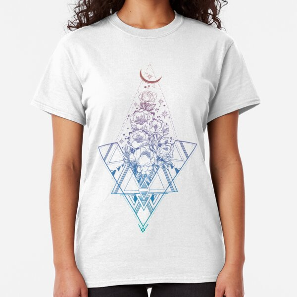 Floral Sacred Geometry // Rainbow Peonies Classic T-Shirt