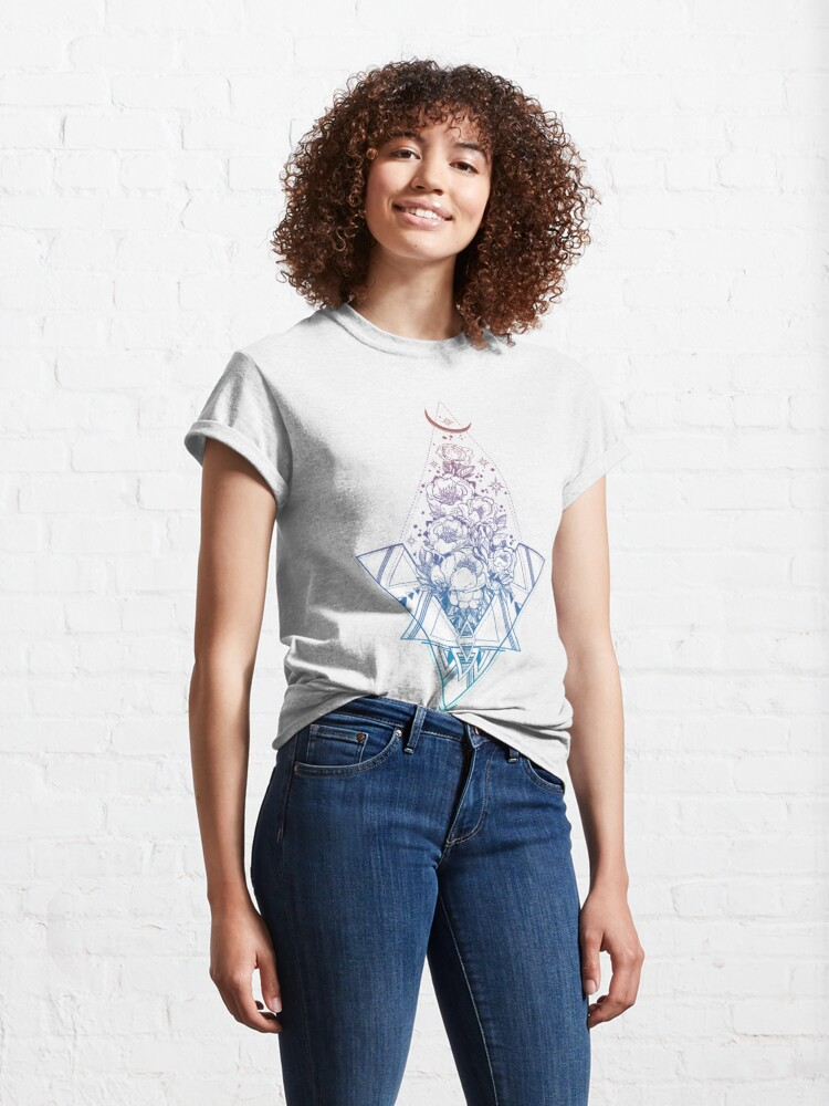 Alternate view of Floral Sacred Geometry // Rainbow Peonies Classic T-Shirt